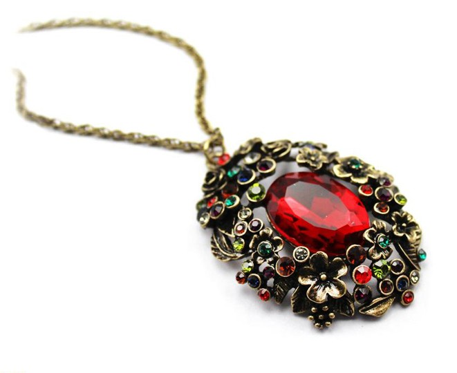 ruby necklace pendant jewelry Necklace Prom necklace